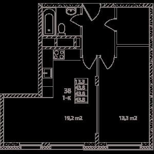 Планировка 1-комнатной квартиры в Май